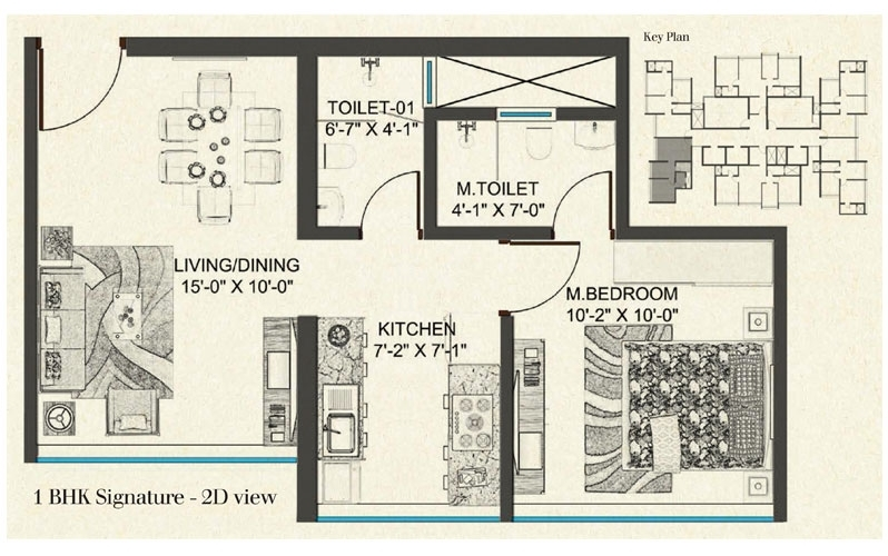 LEVEL - The Residences  - 1bhk flr Plan