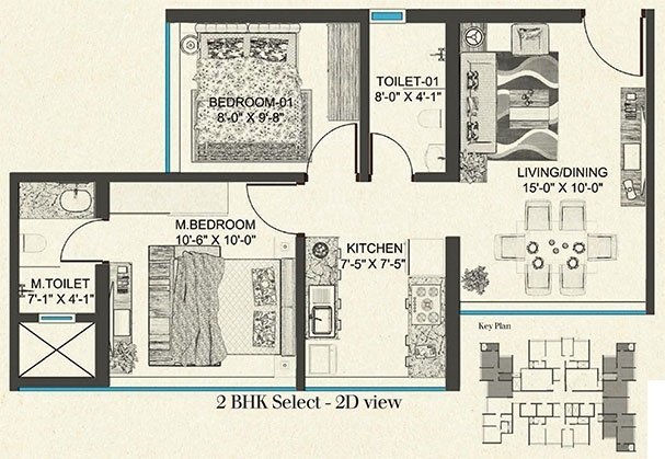 LEVEL - The Residences  - 2bhk flr Plan