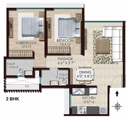 Chandak Stella  - 2Bhk flr Plan