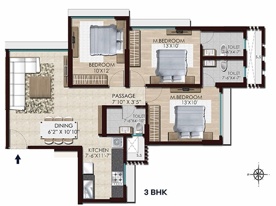 Chandak Stella  - 3Bhk flr Plan