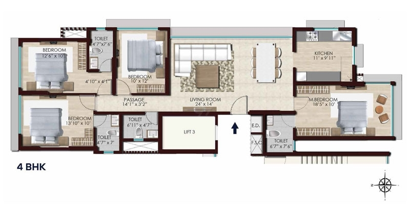 Chandak Stella  - 4Bhk flr Plan